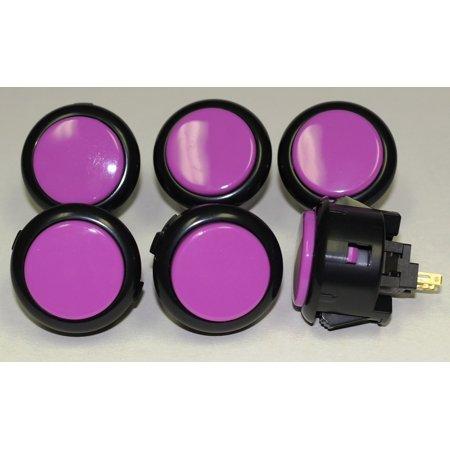 Sanwa Stick (6pc Set of Sanwa OBSF-30 Black Ring / Violet Plunge Push Buttons)