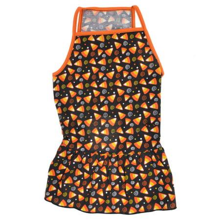 Unique Bargains Triangle Pattern Pet Dog Poodle Spaghetti Top Dress Apparel Black Orange M](Hot Dog Spaghetti Halloween)