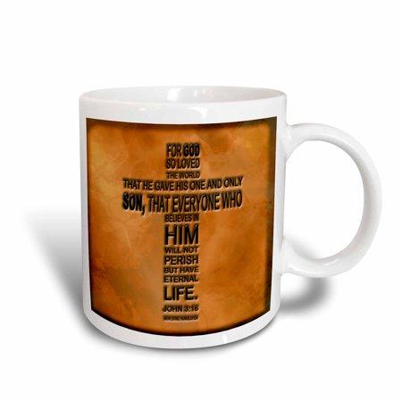 3dRose John 3 16 bible verse embossed on a copper background, Ceramic Mug, 11-ounce