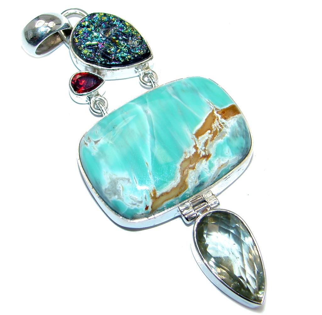 Pale Beauty Chrysoprase Garnet Green Amethyst Sterling Silver handmade Pendant by SilverRush Style by