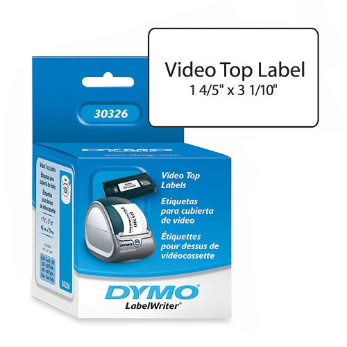 "Dymo 30326 White Vhs Top Labels - 1-4/5"" X 3-1/10"" - 150 Per Roll - 1 Roll Per Box"