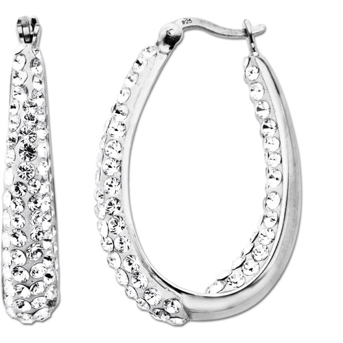 Luminesse Sterling Silver White Hoop Earrings made with Swarovski Elements