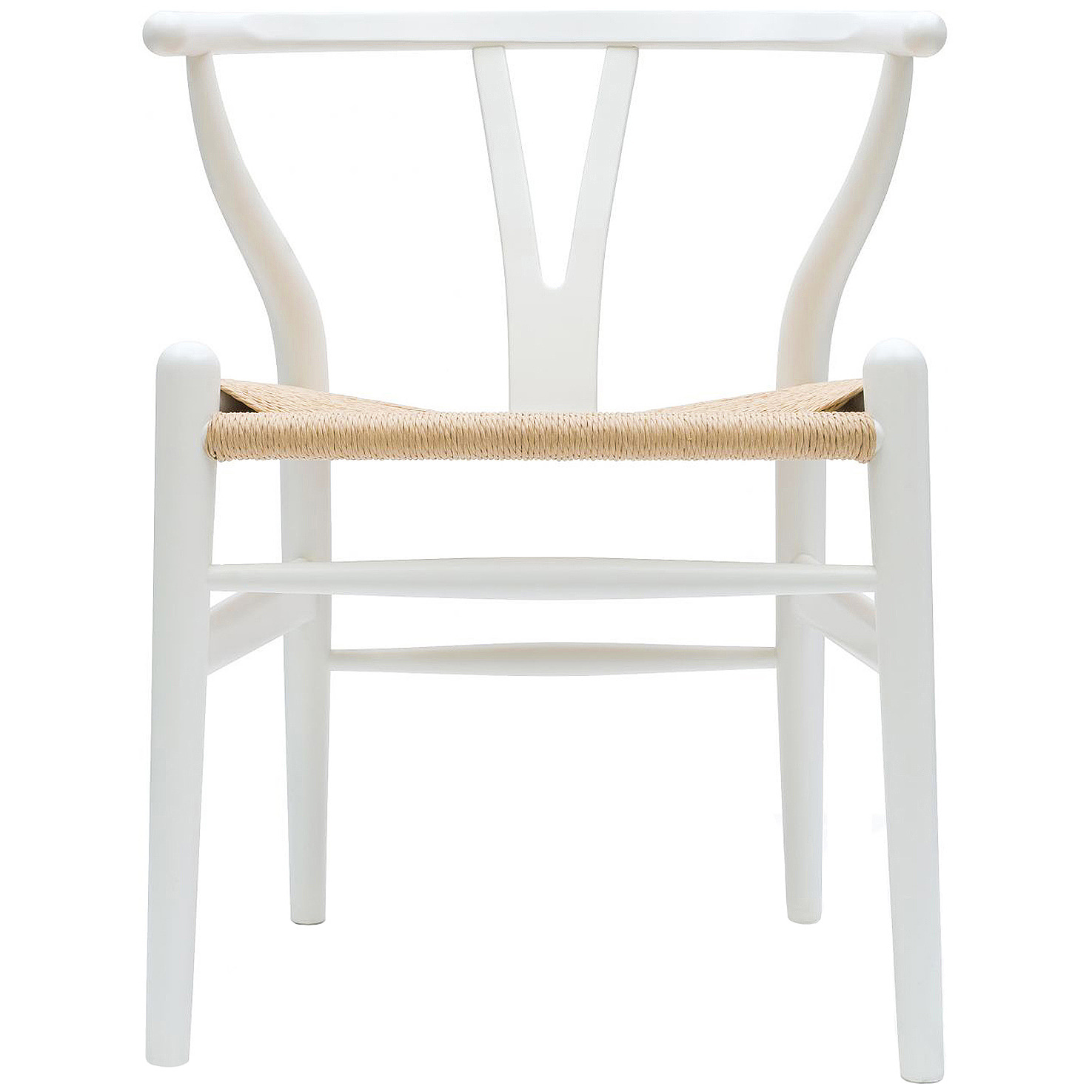 2xhome White Wishbone Wood Armchair With Arms Open Y Back