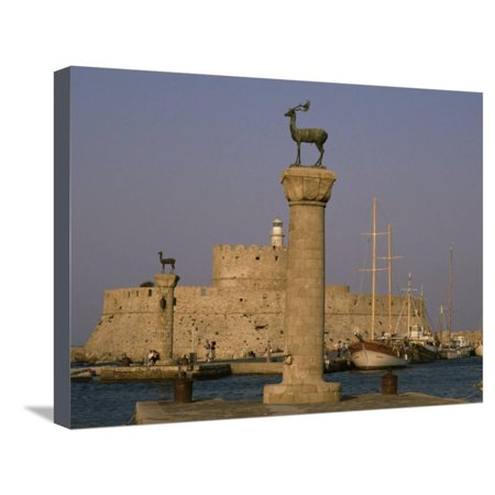 Antelopes on Columns at Entrance to Mandraki Harbour, Rhodes, Dodecanese Islands, Greece Stretched Canvas Print Wall Art By David Beatty