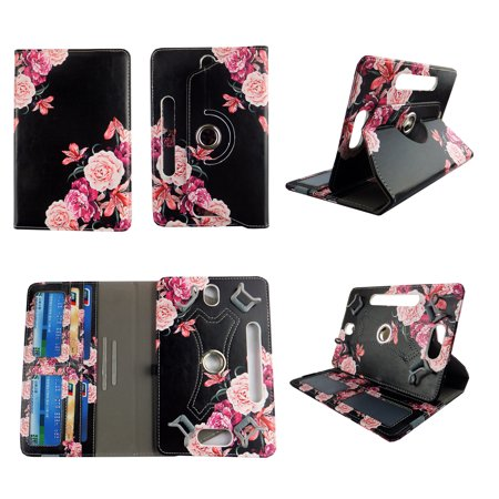 "Pink Flower Black tablet case 7 inch for Toshiba Thrive 7"" 7inch android tablet cases 360 rotating slim folio stand protector pu leather cover travel e-reader cash slots"