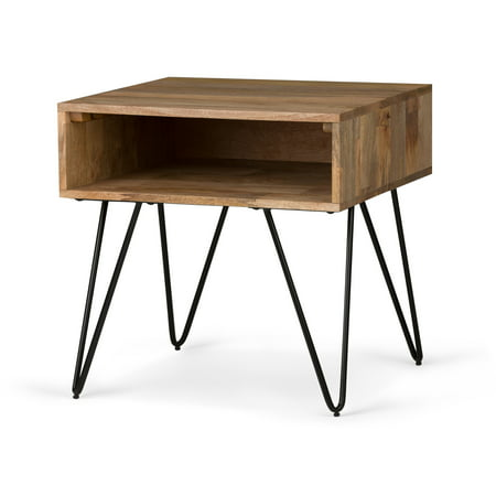Brooklyn + Max Diaz Solid Mango Wood and Metal 22 inch Wide Square Mid Century Modern End Side Table in