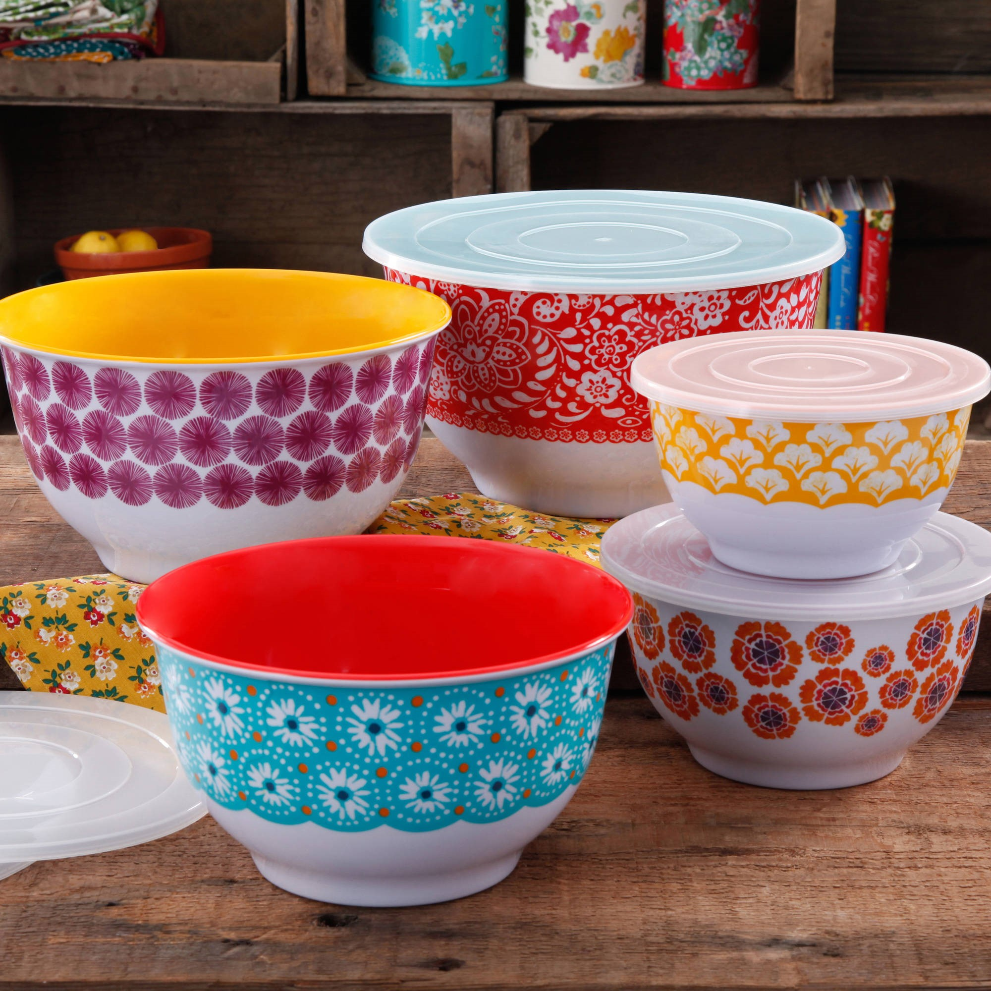 The Pioneer Woman Traveling Vines Nesting Mixing Bowl Set, 10-Piece, Multiple Patterns