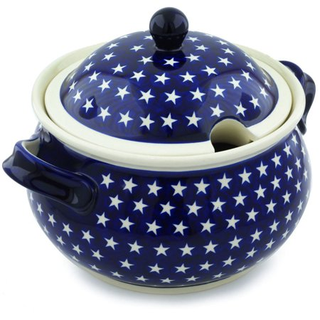 Polish Pottery 21 Cup Tureen (America The Beautiful Theme) Hand Painted in Boleslawiec, Poland + Certificate of Authenticity ()