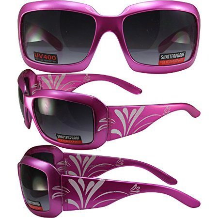 Global Vision Passion Sunglasses Laser Etched Decorated Pink Frames Smoke Lens - Decorated Sunglasses