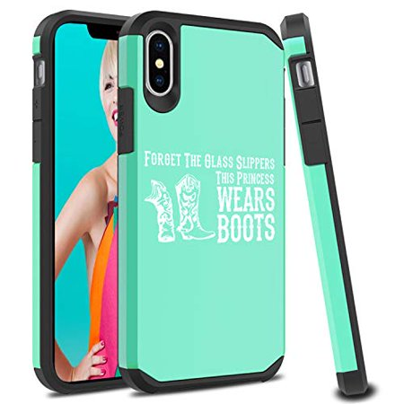 Shockproof SI Impact Hard Soft Case Cover Protector for Apple iPhone Princess Wears Boots Cowgirl (Mint, for Apple iPhone Xs - Cowgirl Princess