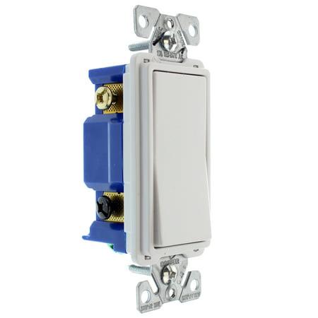 Hubbell RSD415WZ Decorator Rocker Switch, 4-Way, 15-Amp, 120/277-Volt, White ()