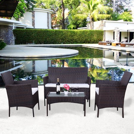 4 PC Patio Rattan Wicker Chair Sofa Table Set Outdoor Garden ...