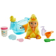 Barbie Skipper Babysitters Inc. Feeding and Bath-Time Playset With Color-Change Baby Doll, Tub and 6 Accessories