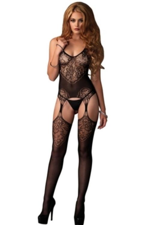 Women's Seamless Lace Jacquard Net Suspender Body Stocking, Black, One Size