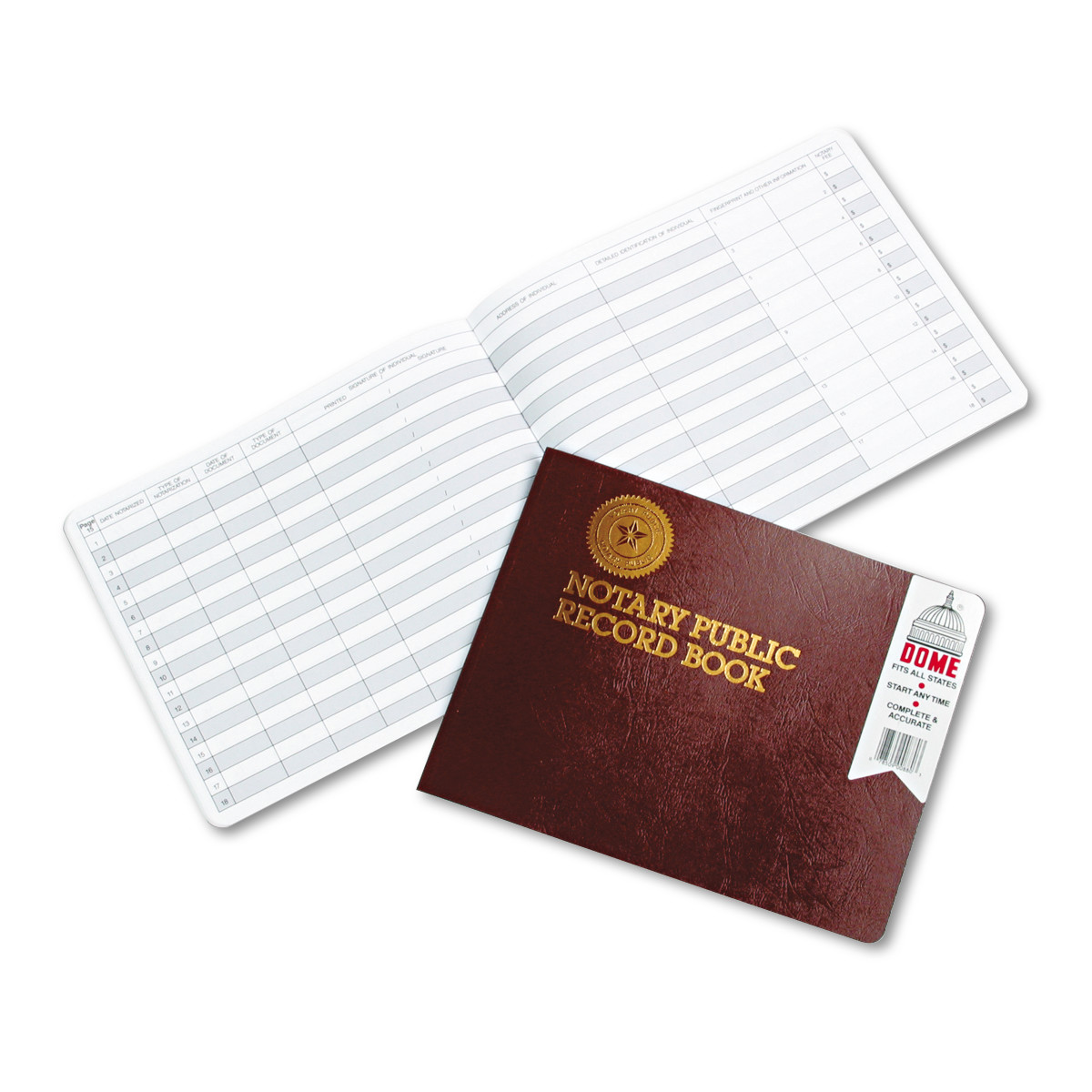 Dome Notary Public Record, Burgundy Cover, 60 Pages, 8 1/2 x 10 1/2 -DOM880