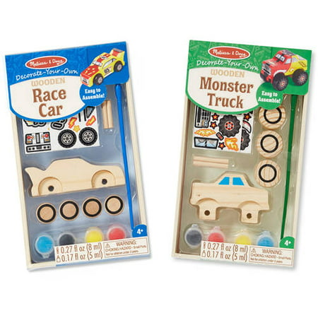 - Melissa & Doug Decorate-Your-Own Wooden Craft Kits Set - Race Car and Monster Truck