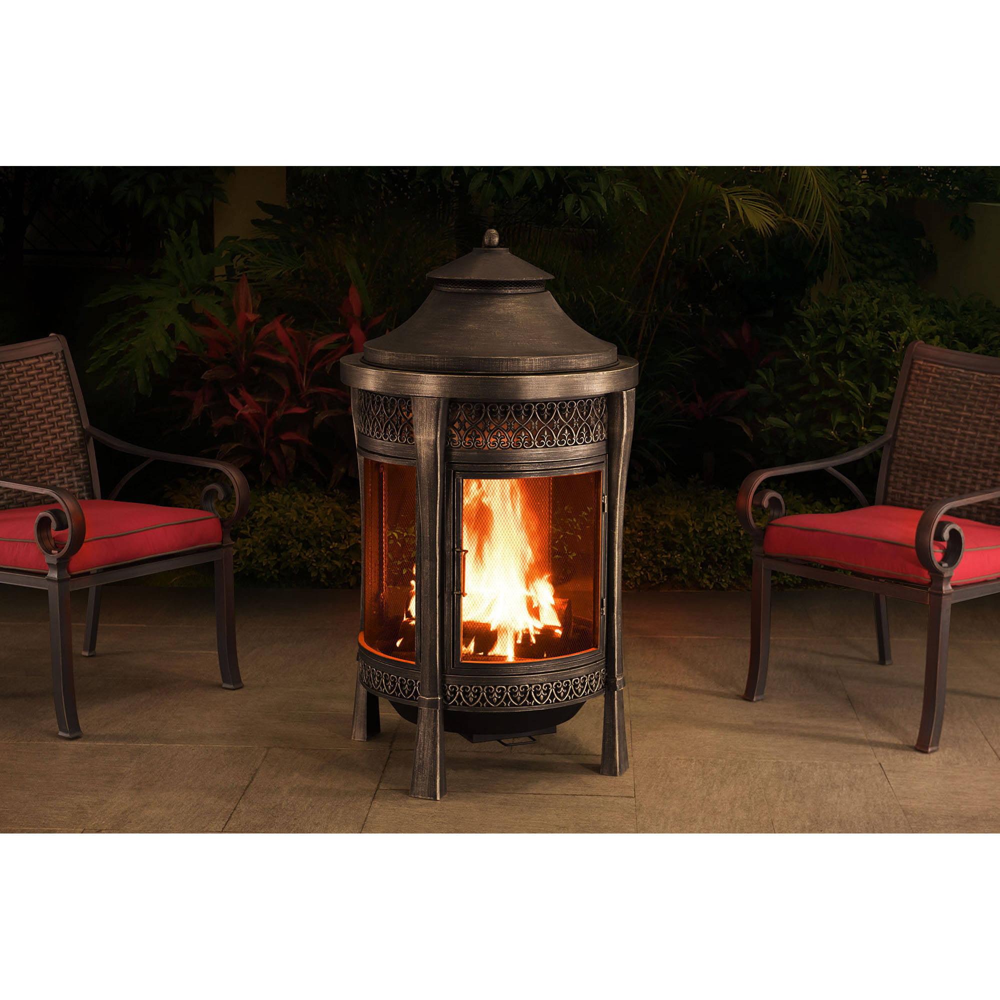 sunjoy 110504002 brown 62 cast steel outdoor fireplace