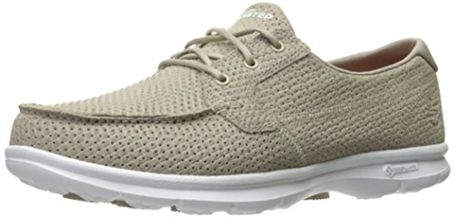 14422 Taupe Skechers Shoes Go Step Women Walk Boat Embossed Soft Leather Comfort 14422TPE by Skechers