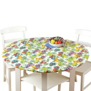 Fitted Elastic No-Slip Fit Table Cover with Soft Flannel Backing, Apples, Round, Durable vinyl tablecloths wipe clean and feature elasticized edges for a.., By Collections Etc