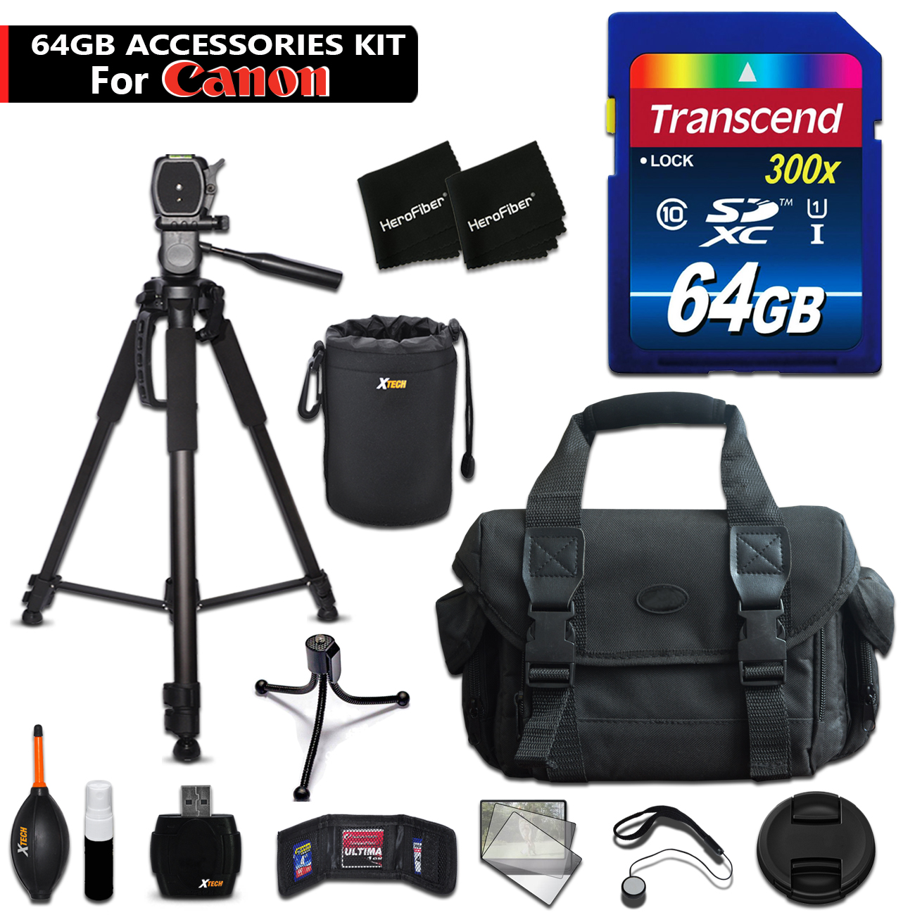64GB Accessory Kit for Canon EOS 80D, 70D, EOS Rebel T6i,...