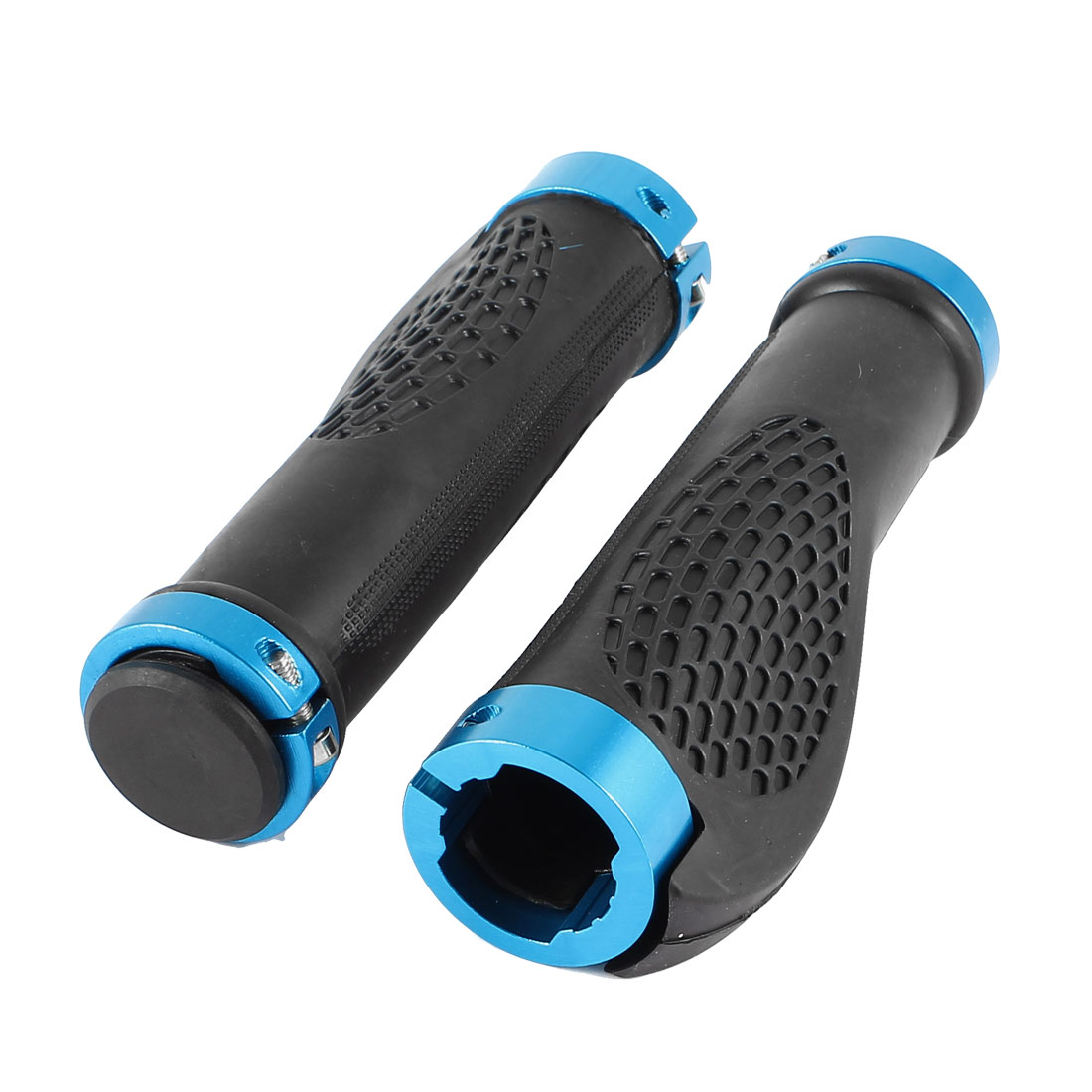 2 Pcs Ergonomic Antislip Mountain Bike Bicycle Handlebar Grips Black Blue