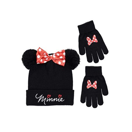 Disney Store Minnie Mouse Winter Beanie Hat & Mittens Set for Age 5-12 (The Hut Department Store)