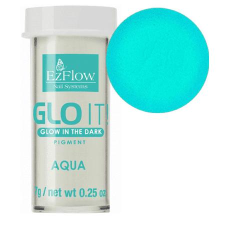 EzFlow Nail Systems GLO IT! Glow in the Dark Pigments-Aqua 7g/0.25 (Bk Glow In The Dark Nail Polish)
