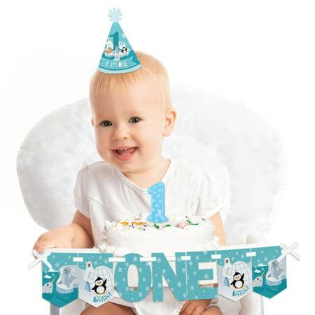 1st Birthday High Chair Decorations (Arctic Polar Animals 1st Birthday - First Birthday Boy or Girl Smash Cake Decorating Kit - High Chair)