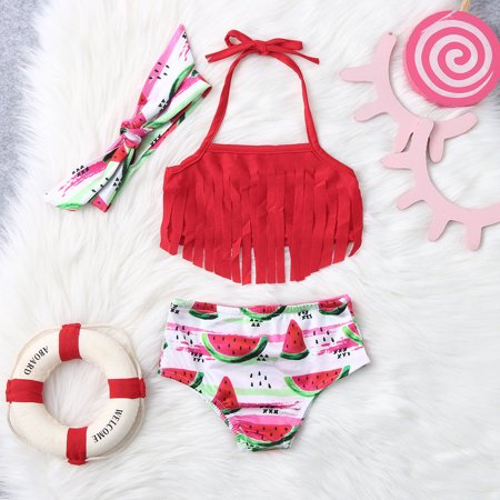 2019 HOTSALES Kids Baby Girls Tassel Watermelon Print Summer Swimwear Swimsuit Bikini
