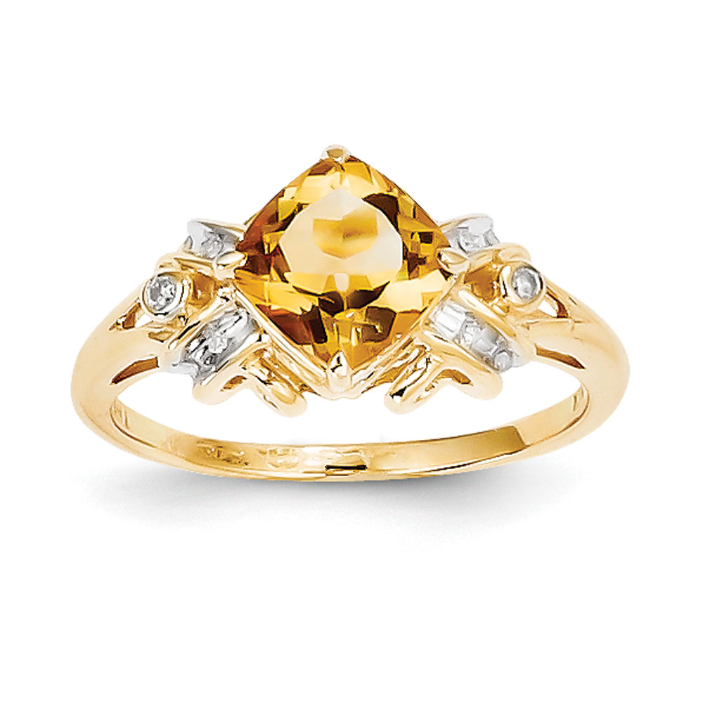 14k Gold Diamond and Citrine Square Ring .05 dwt 1.10 cwt by