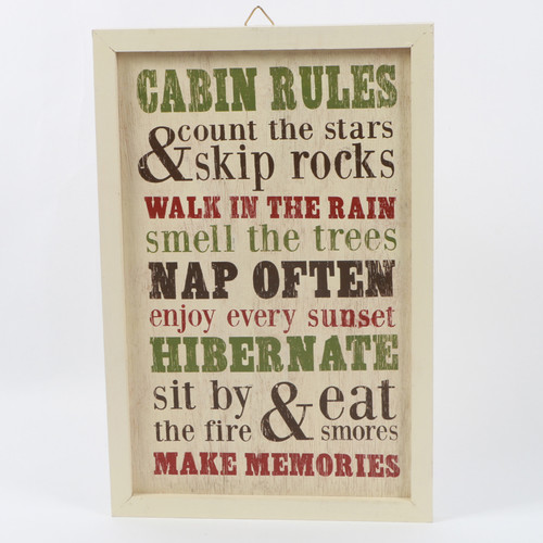 DEI Woodland River Cabin Rules Sign Framed Textual Art