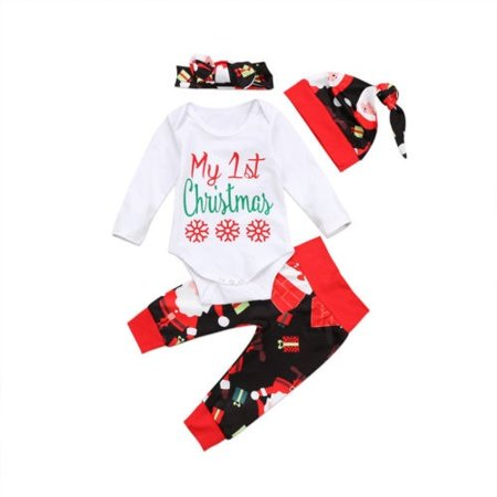 4Pcs/ Set Newborn Baby Boy Girl First Christmas Clothes Romper Pants Hat Outfit - Christmas Outfit Boys