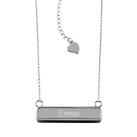Stainless Steel Laser Engraved Personalized Name Horizontal Bar Charm Necklace Pendant