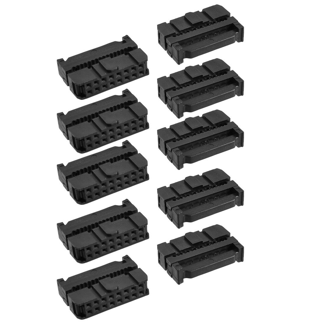 Unique Bargains 10 x 2.54mm Pitch Female 16 Pins Flat Cable IDC Socket Connector Black