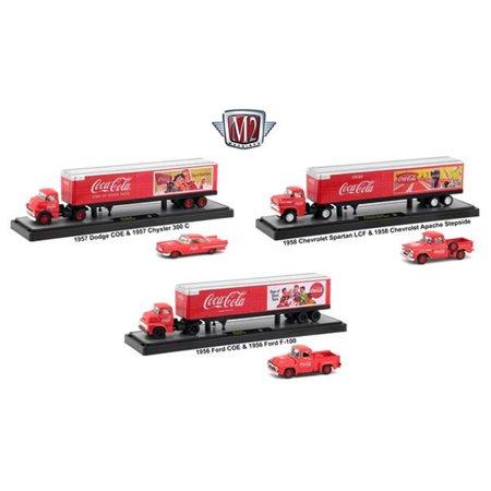 M2Machines Case Auto Haulers Coca-Cola Diecast Models Car, 3 Piece
