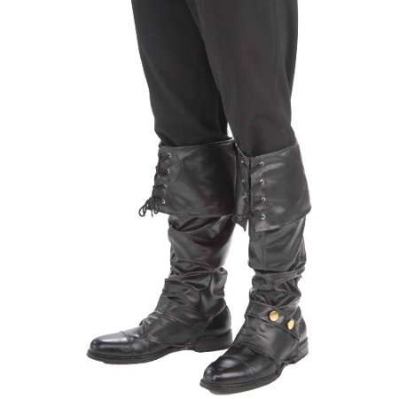 Forum Novelties Men's Deluxe Adult Pirate Boot Covers with Studs, Black, One (Best Correctional Officer Boots)