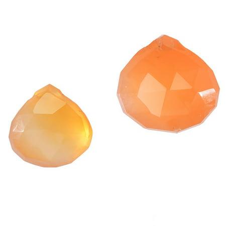 Orange Carnelian Gemstone Quality Cut Faceted Heart Briolette Beads 6-13mm - Pack of - Jewel Heart