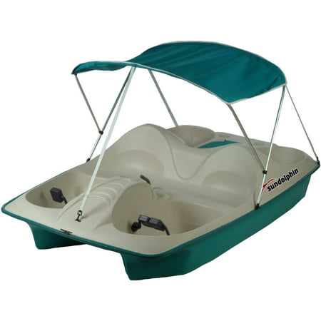 Sun Dolphin 5 Seat Recreational Pedal Boat with Canopy, Teal