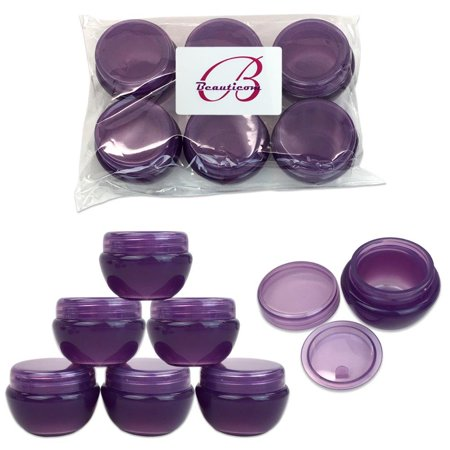 Beauticom 6 Pieces High Quality 10 Gram 10 ml (0.3 oz) Frosted Purple Plastic Round Cream Salve Cosmetic Sample Jars with Liners Plastic Sample Jars