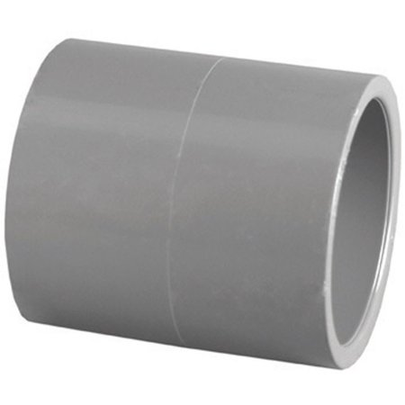 Charlotte Pipe & Foundry PVC 08100  1200HA Pipe Fitting, PVC Coupling, Gray, Slip x Slip, 3/4-In.