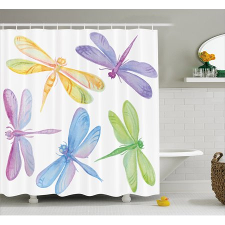 Dragonfly Shower Curtain, Colorful Watercolor Winged Bugs Children Kids Nursery Spring Themed Artsy Picture, Fabric Bathroom Set with Hooks, Multicolor, by Ambesonne ()