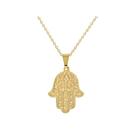 Jewelry Protection (18k Gold Plated Hamsa Hand Pendant Necklace Judaica Protection 19
