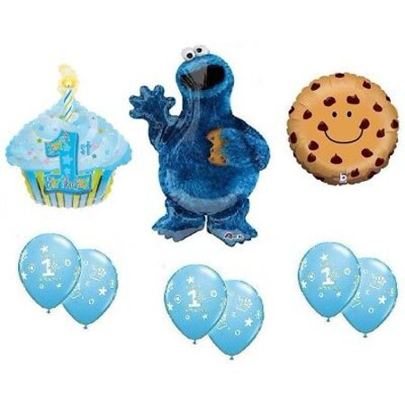 Cookie Monster Balloons (COOKIE MONSTER 1st First Birthday Boy Cupcake Party Mylar & Latex Balloons Set)