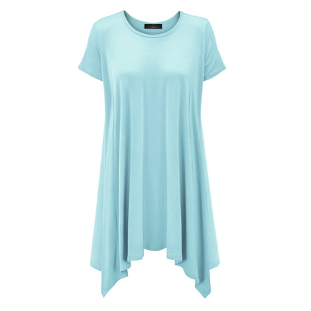 Mbj Womens Short Sleeve Side Panel Loose Fit Tunic Top