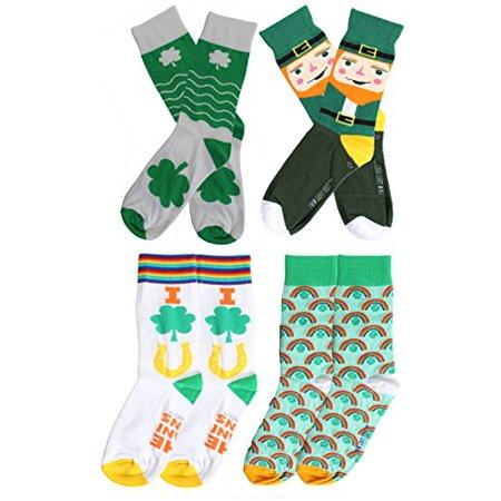 St. Patrick's Day Irish Shamrock Crew Socks Womens Size 9-11 (6 Pack) (Mix - St Pattys Day Socks