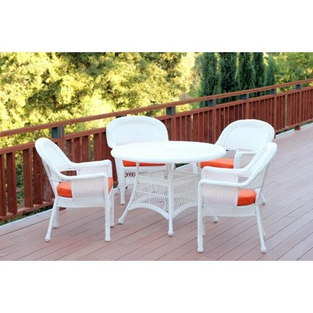 5 Piece White Resin Wicker Chair Table Patio Dining Furniture Set Orange Cushions
