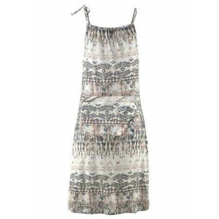Female Halter Neck Boho Print Casual Mini Beachwear Dress Sundress L (Print Halter Sundress)
