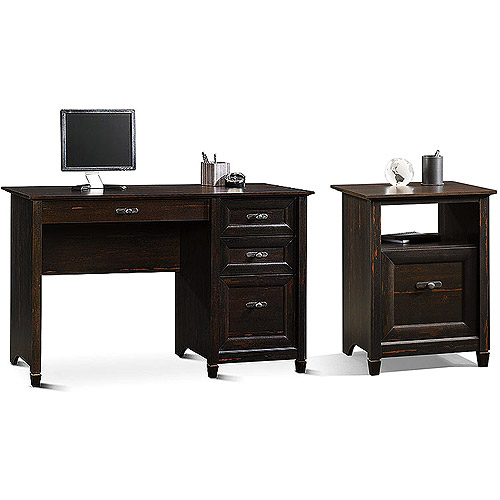 Sauder New Cottage Desk and 3-in-1 Stand Value Bundle, Antiqued Black