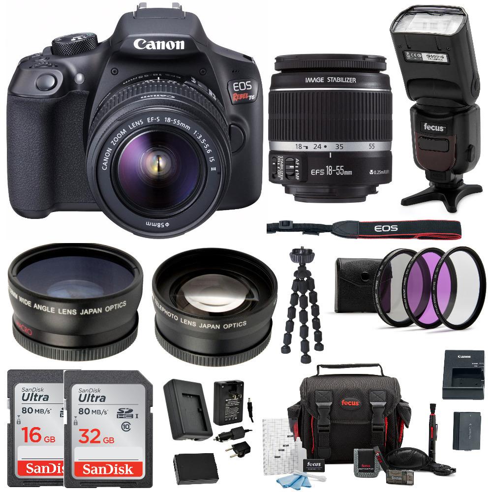 canon t6 eos rebel dslr camera w/ ef-s 18-55mm is ii lens & accessory bundle