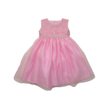 Little Girls Pink Rhinestone Embellished Overlaid Flower Girl Dress - Pink Little Girl Dresses